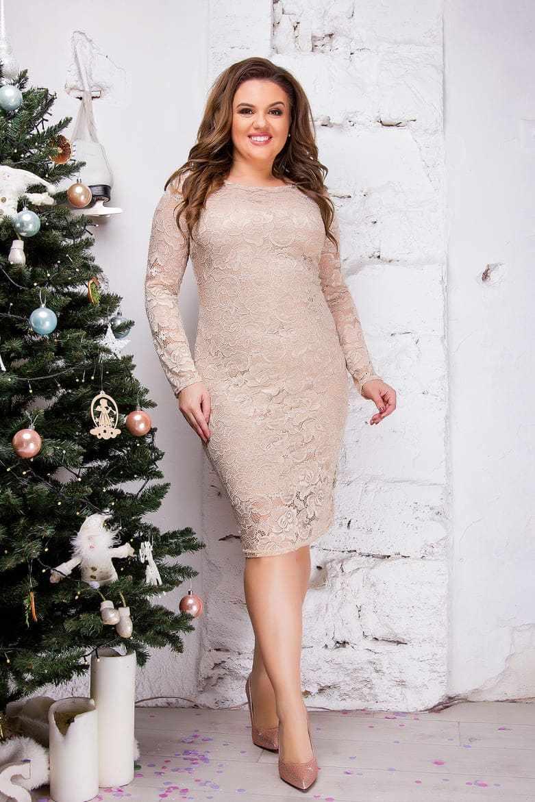 Женское гипюровое платье, бежевое 8084
