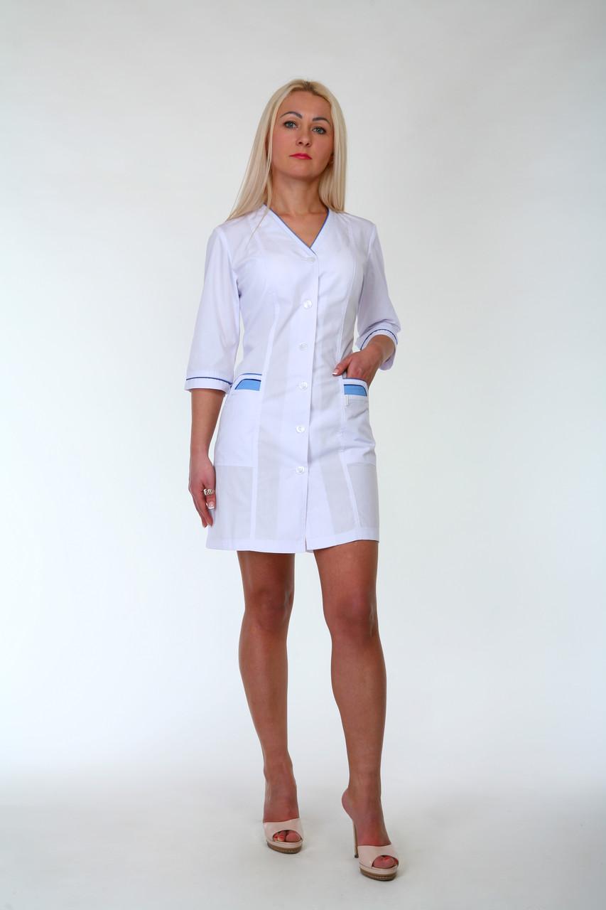 Медицинский женский белый халат 2192-1 (батист 62,64,66 р-ры )