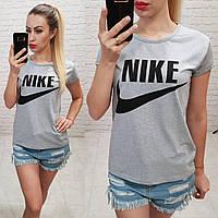 Женская футболка летняя реплика Nike Турция 100% катон серая, фото 1