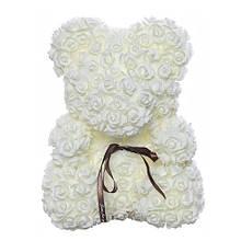 """Мишка из роз 3D, 40см """"Bear Flowers"""" (кремовый) + подароч. упаковка"""