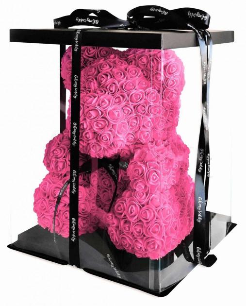 """Мишка из роз 3D, 25см """"Bear Flowers""""  (темно-розовый) + подароч. упаковка"""