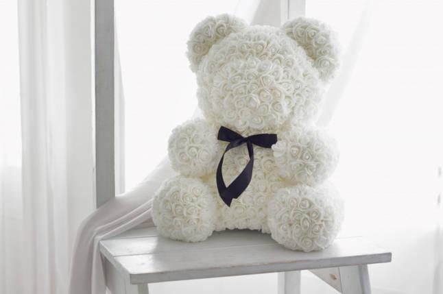"""Мишка из роз 3D, 25см """"Bear Flowers"""" (белый) + подароч. упаковка, фото 2"""