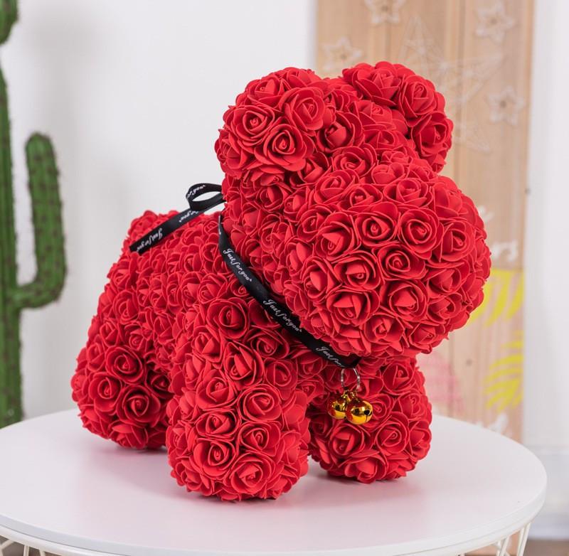 """Собачка из роз 3D, 38см """"Dog Flowers"""" (красная) + подароч. упаковка"""