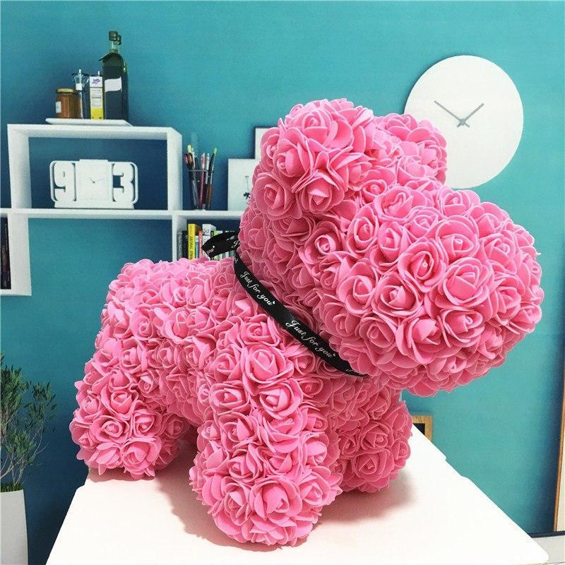 """Собачка из роз 3D, 38см """"Dog Flowers"""" (розовая) + подароч. упаковка"""