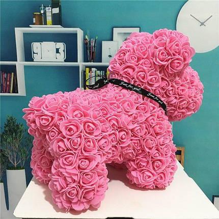 "Собачка из роз 3D, 38см ""Dog Flowers"" (розовая) + подароч. упаковка, фото 2"