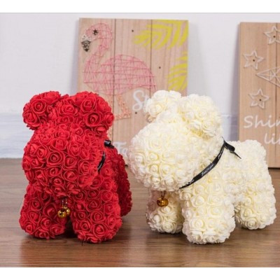 """Собачка из роз 3D, 38см """"Dog Flowers"""" (кремовая) + подароч. упаковка"""