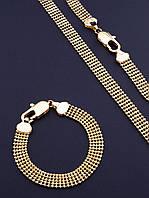 Цепь+Браслет 'XUPING' (позолота 18к) - комплект ювелирной бижутерии для женщин