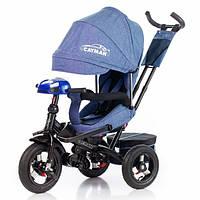 Трехколесный велосипед Tilly Cayman с пультом и усиленной рамой T-381/2 (синий) ткань лен