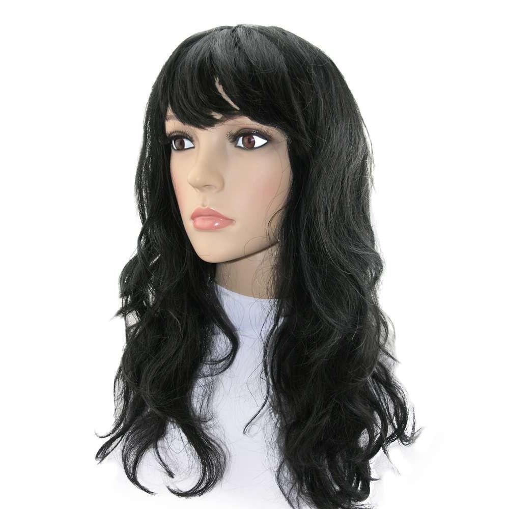 Парик карнавальный длинные черные  волнистые волосы