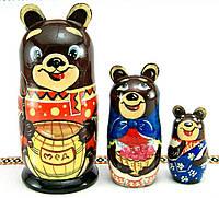 """Деревянна игрушка-матрешка """"Медведи"""", авторская роспись, ручная работа, народный мастер из Запорожья"""