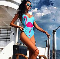 Купальник с фламинго, ткань: бифлекс на подкладке с чашечками. Размер:М-42, Л-44. Цвет: голубой (6050)