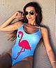Купальник с фламинго, ткань: бифлекс на подкладке с чашечками. Размер:М-42, Л-44. Цвет: голубой (6050), фото 3