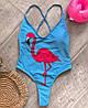 Купальник с фламинго, ткань: бифлекс на подкладке с чашечками. Размер:М-42, Л-44. Цвет: голубой (6050), фото 5