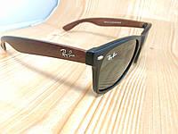 Солнцезащитные очки Ray Ban Wayfarer - черные c коричневыми дужками