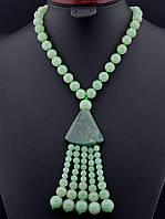 Бусы из натурального камня Нефрит 63 см. - красивое женское украшение из нефрита