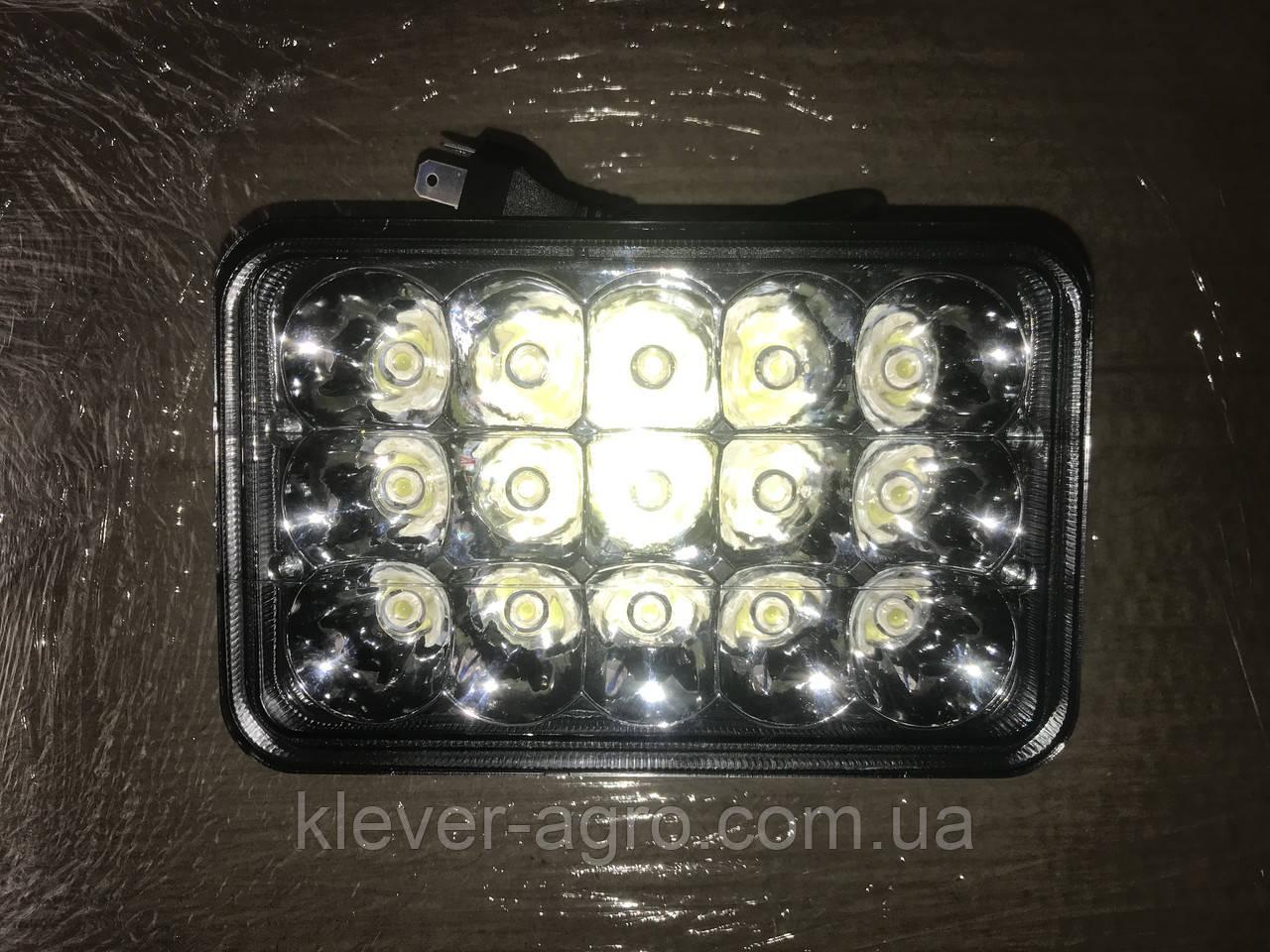 Фара LED прямоугольная 45W, 15 ламп, 110*170мм, узкий луч