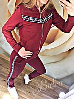 """Качественный женский спортивный костюм """"Tommy лента"""" 42-48р цвета БОРДО"""