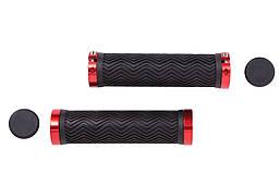 Ручки руля PVC L130мм с Al черным замком HL-G240 (черно-красный)