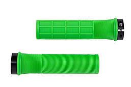 Ручки руля PVC L130мм с Al черным замком HL-G241 (салатно-черный)