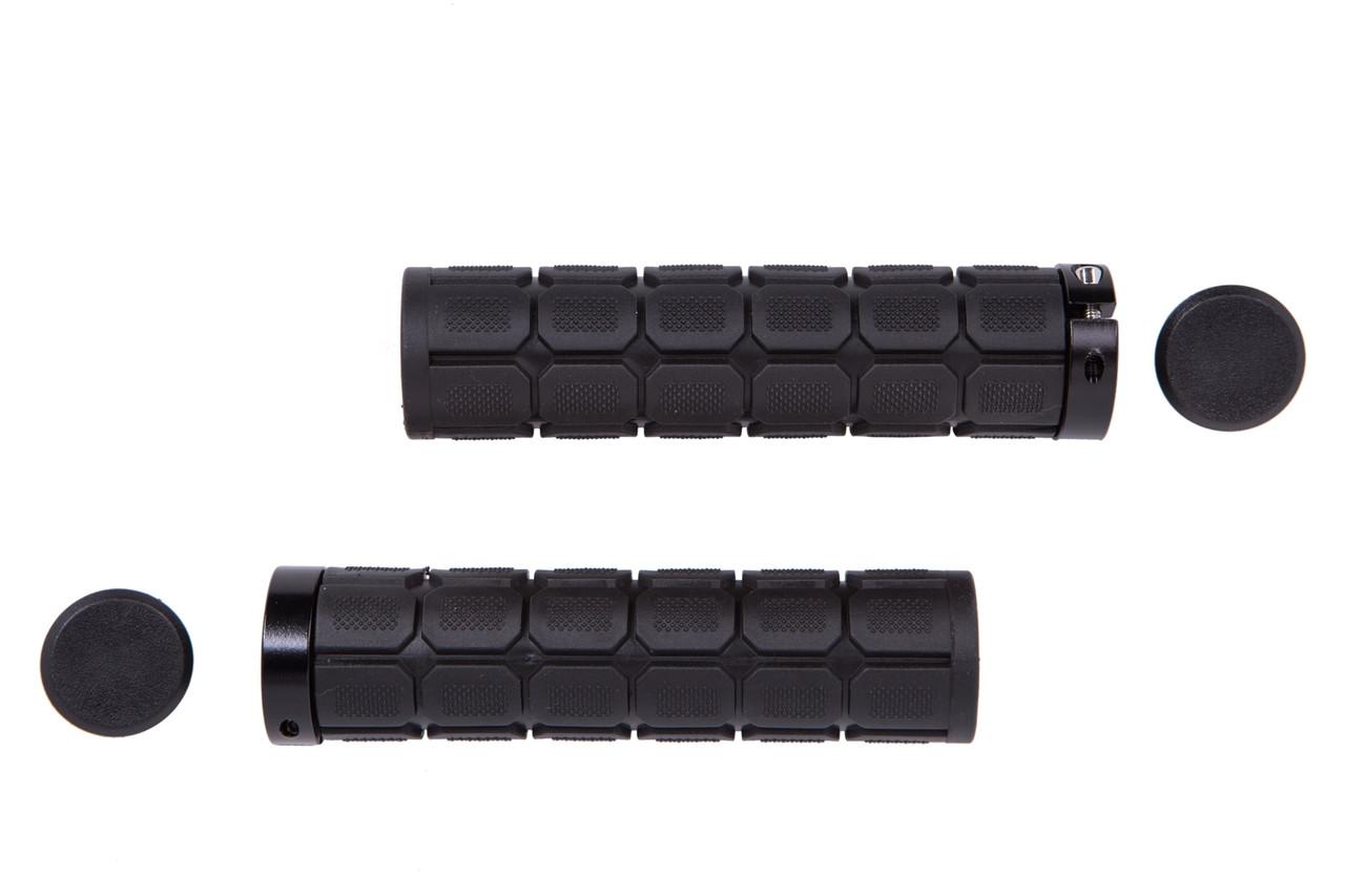 Ручки руля PVC L130мм с Al черным замком HL-G219 (черный)