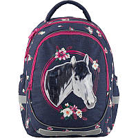 Рюкзак школьный ортопедический Kite Education 700-1 Beautiful horse, для девочек, синий (K19-700M-1)
