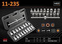 """Набор головок для маслосливной пробки 3/8"""" – 18 шт., NEO 11-235"""