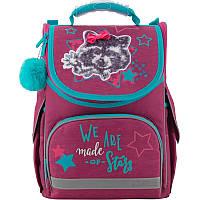 Рюкзак школьный каркасный ортопедический Kite Education 501-3 Fluffy racoon, для девочек, бордовый (K19-501S-3)