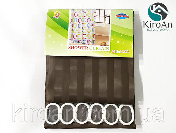 Однотонная коричневая шторка для ванной/душа (полоса) , фото 2