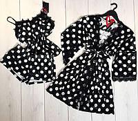 Велюровый комплект в горошек для дома халат и пижама 022-038