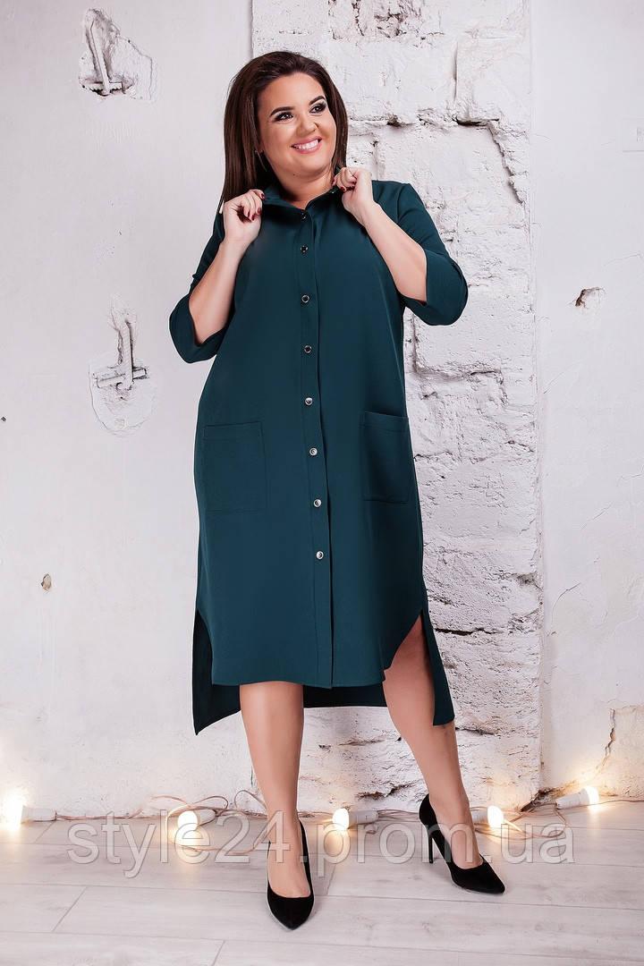Жіноче батальне плаття-рубашка видовжене ззаду.Р-ри 50-64