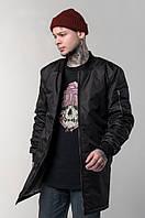 Мужской удлиненный черный бомбер West куртка весеняя мужская черная ветровка весна