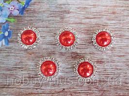 Напів-перли в стразовой оправі, 15 мм, колір червоний
