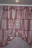 Кухонная штора   Бардовые лютики
