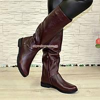 Сапоги-трубы женские кожаные демисезонные бордового цвета., фото 1