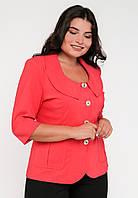 Стильный классический приталенный женский жакет с круглым вырезом, рукава 3/4 Modniy Oazis красный 90193/1, фото 1