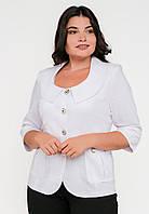 Стильний жіночий класичний приталений жакет з круглим вирізом, рукава 3/4 Modniy Oazis білий 90193, фото 1