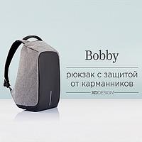 Городской рюкзак антивор Бобби Bobby с USB серый / защита от краж, водоотталкивающий, реплика