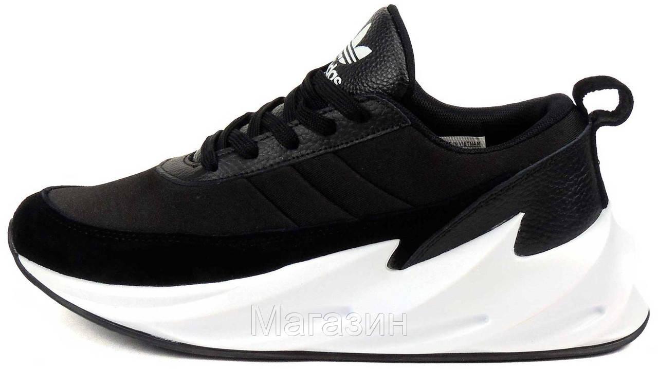 Мужские кроссовки Sharks Black / White в стиле Адидас Шарк Акулы черные с белым
