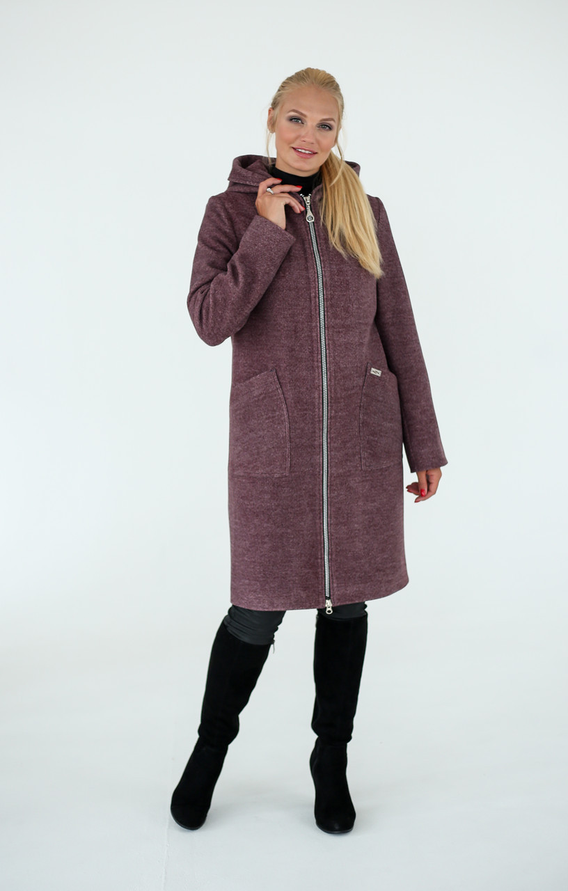 Демисезонное женское пальто-кардиган на молнии
