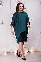 Батальне плаття з шифоновою накидкою .Р-ри 50-64, фото 1
