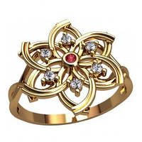 Золотое кольцо - Цветок Бриллиант