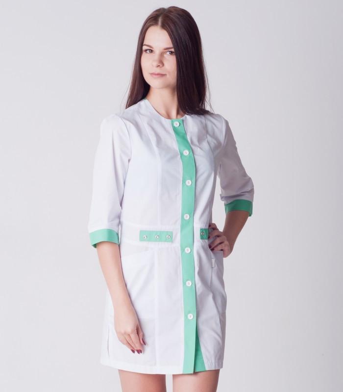 Медицинский халат женский с вставкой цвета яблоко 2188-1 (батист 42-60 р-ры )