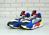 Мужские кроссовки Puma RS. Сине-черные Текстиль, кожа, фото 1