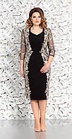 Платье Mira Fashion-4362-2 белорусский трикотаж, чёрный+золото, 56