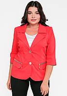 Классический женский жакет с отложным воротником и рукавами 3/4 Modniy Oazis красный 90194, фото 1
