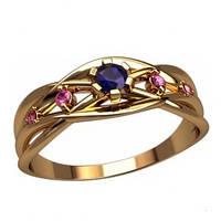 Золотое кольцо с фианитами - Ellen