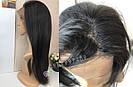 💎Женский длинный натуральный чёрный парик и с имтаций кожи 💎, фото 5