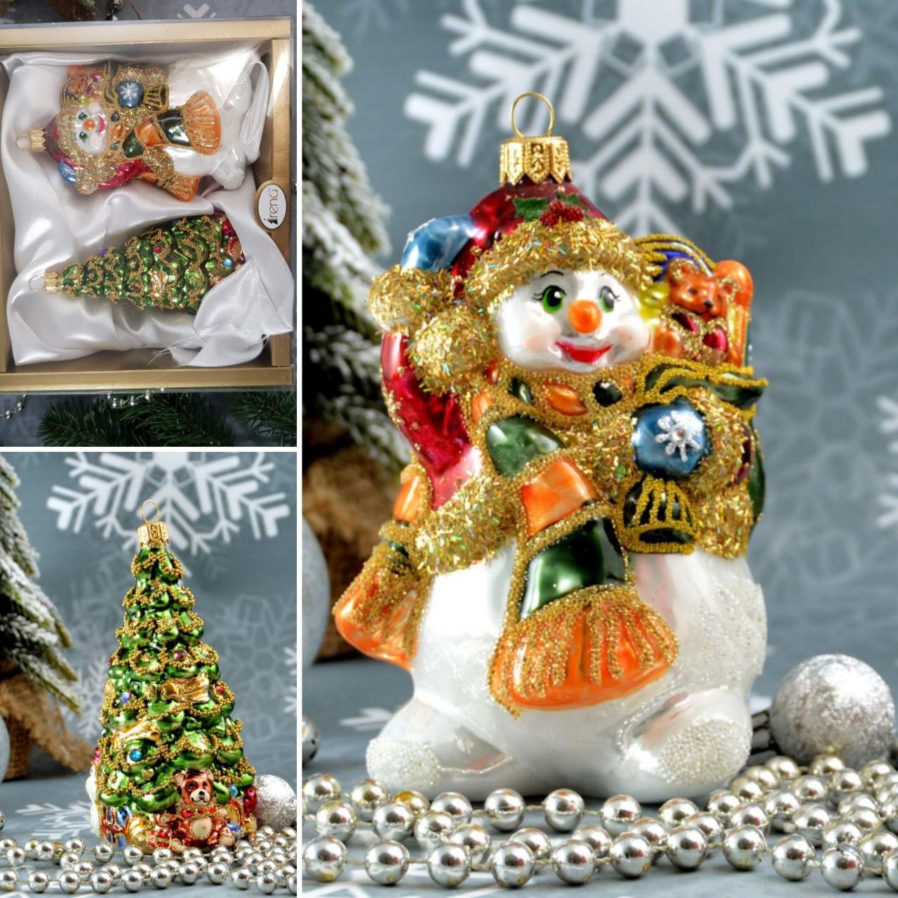 Набор стеклянных елочных игрушек Снеговик с подарками и елка Irena