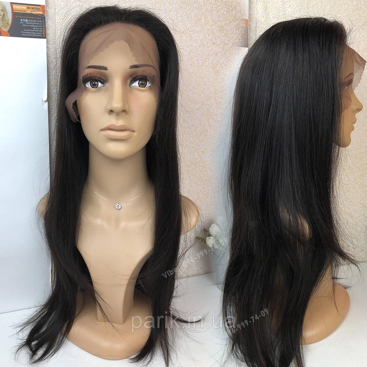 💎Женский длинный натуральный чёрный парик и с имтаций кожи 💎