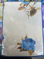 Постельное белье полуторное Инесс на белом голубые цветы